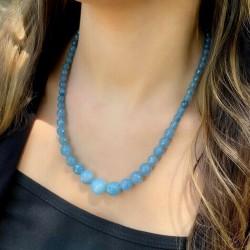 Collier en Perles Naturelles pierres aigue marine