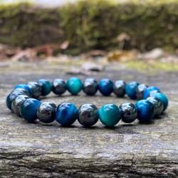 Bracelet Homme Femme Pierres Naturelles - Pierre de lave  - Agate bleue