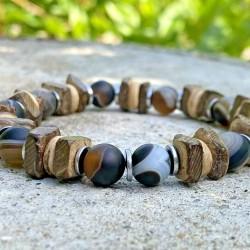 Bracelet Homme Femme Pierres Naturelles Carmelian Bois de coco