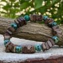 Bracelet Homme Femme Pierres Naturelles Turquoise d'Afrique  Bois de coco