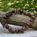 Bracelet Homme Femme Pierres Naturelles Oeil de Tigre Bois de coco