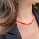 Collier en Perles Naturelles Cornaline  - Lithothérapie - Ras de cou