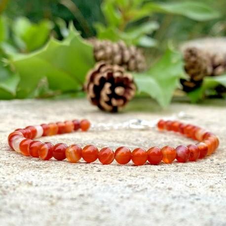 Bracelet tressé Perles Naturelles Cornaline - Homme Femme - Lithothérapie