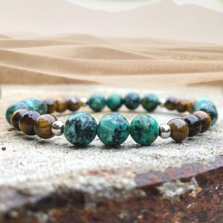 Bracelet Homme Femme Turquoise d'Afrique Bois de Cocotier - Lithothérapie