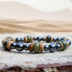 Bracelet Homme Femme Pierres NaturellesAgate Indienne Hématite Bois de Cocotier