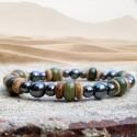 Bracelet Homme Femme Pierres Naturelles Agate Indienne Hématite Bois de Cocotier
