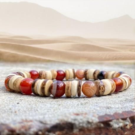 Bracelet Homme Femme Pierres Naturelles -Jaspe-bois de coco