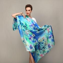 Grand Foulard Bleu en Soie Motifs Floral