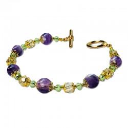 Bracelet Lagune, Améthyste et Crystal