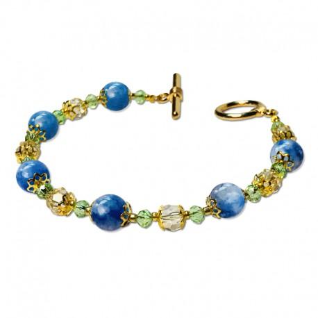 Bracelet Lagune, Aventurine et Crystal