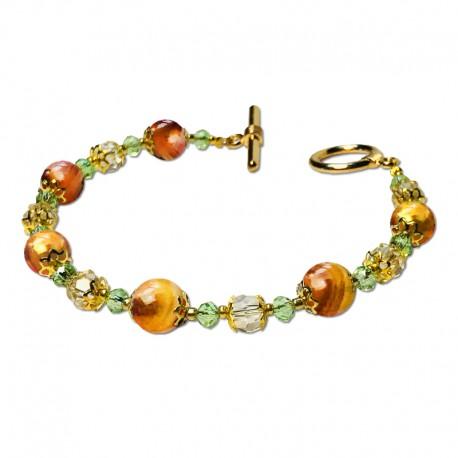 Bracelet Lagune, Cornaline et Crystal