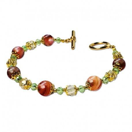 Bracelet Lagune, Jasper marron et Crystal