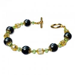 Bracelet Lagune, Obsidienne et Crystal