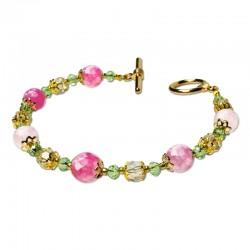 Bracelet Lagune, Agate Rose facettées et Crystal