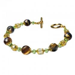 Bracelet Lagune, oeil de tigre et Crystal