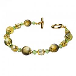Bracelet Lagune, Oeil de Tigre vert et Cristal