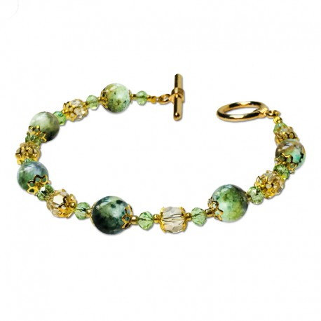 Bracelet Lagune, oeil de tigre vert et Crystal