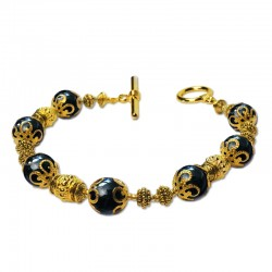 Bracelet Marmara, Obsidienne et Parles du Tibet