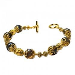 Bracelet Lagune, oeil de tigre et Perles du Tibet