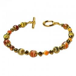 Bracelet Lagune, Cornaline et Cristal
