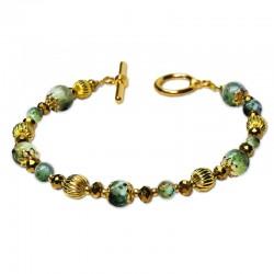 Bracelet Cocktail, oeil de tigre vert et Cristal