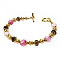 Bracelet Divine, Agate rose facettées et Cristal