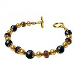 Bracelet Divine, Obsidienne et Cristal