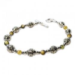 Bracelet Divine, oeil de tigre vert et Cristal