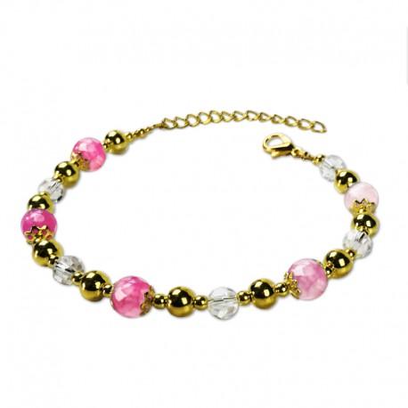 Bracelet Plume, Agate Rose facettées et Crystal