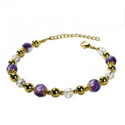 Bracelet Plume, Améthyste et Cristal