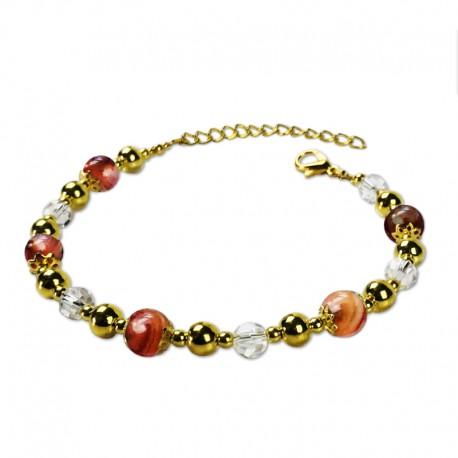 Bracelet Plume, Jasper marron et Cristal