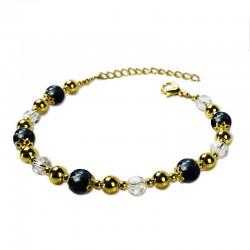 Bracelet Plume, Obsidienne et Cristal