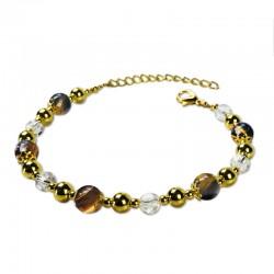 Bracelet Plume, oeil de tigre et Cristal