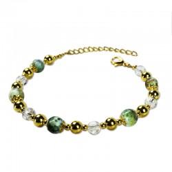 Bracelet Plume, oeil de tigre vert et Cristal