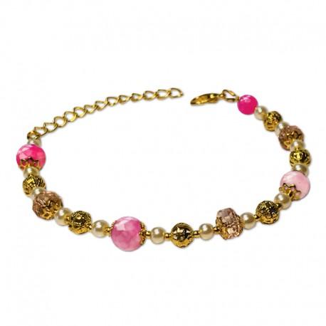 Bracelet Mystic, Agate Rose facettées et Crystal