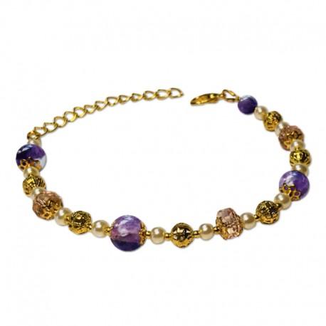 Bracelet Mystic, Améthyste et Crystal