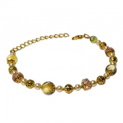 Bracelet Mystic Oeil de Tigre vert et Cristal