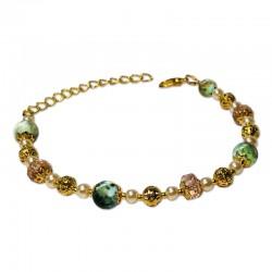 Bracelet Mystic, oeil de tigre vert et Crystal