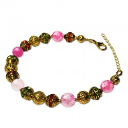 Bracelet Alchimie, Agate rose facettées et Cristal