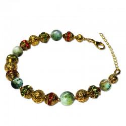 Bracelet Alchimie, oeil de tigre vert et Crystal