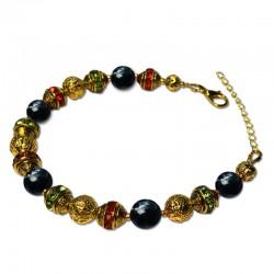 Bracelet Alchimie, Obsidienne et Cristal