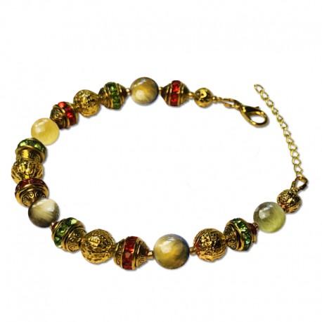 Bracelet Alchimie, Oeil de Tigre vert et Cristal