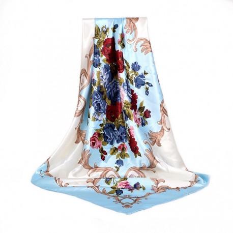 Carré de Soie Bleu Fleurs blanche