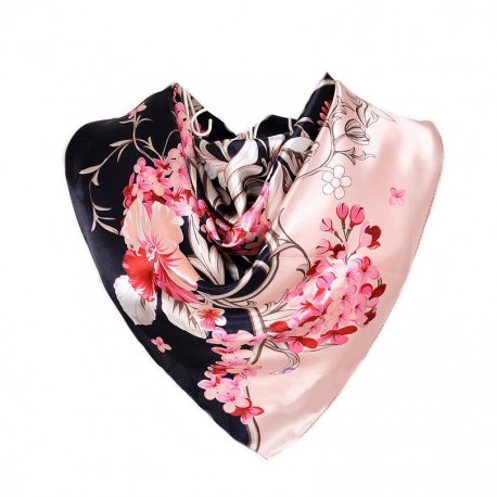 Carré de Soie rose et bleu marine motif floral