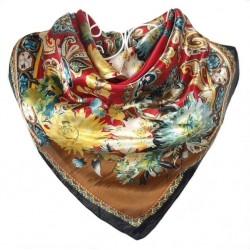 Carré de Soie foulard floral rouge