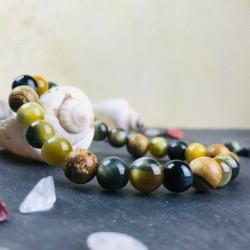 Bracelet Homme Femme Jaspe Paysage - Oeil du Tigre vert - Pierres Naturelles