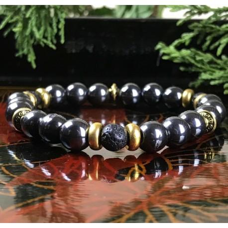 Bracelet Homme Femme Hématite Lave Pierres Naturelles - Perles du Tibet dorées