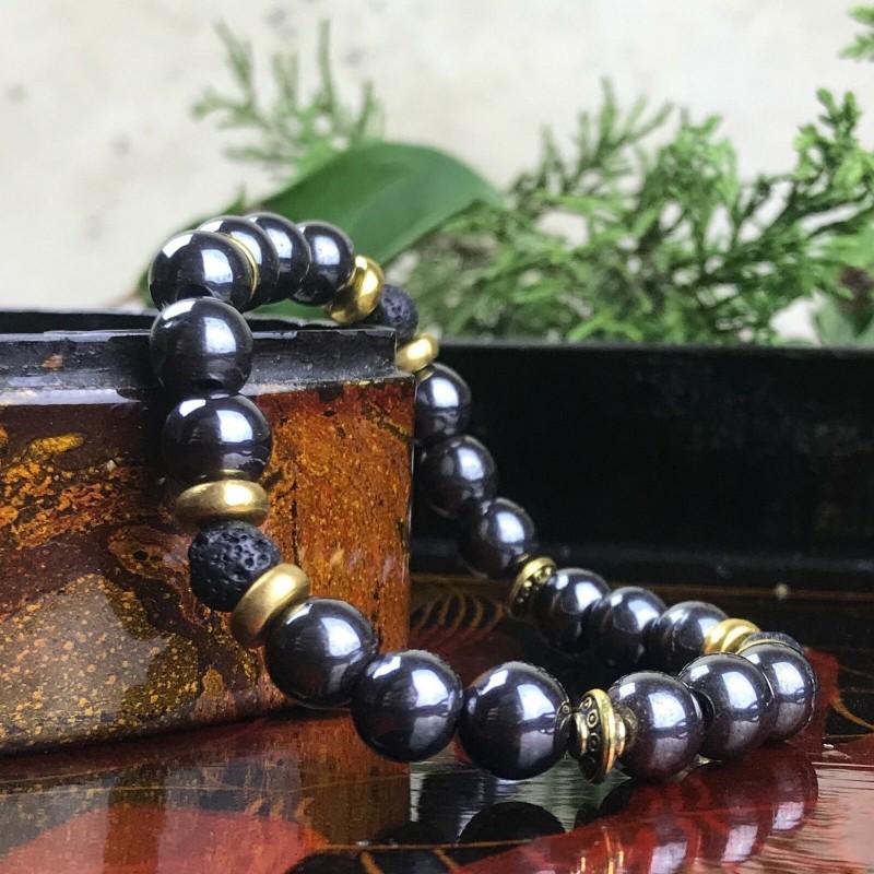 Bracelet Homme//Femme Hématite Lave Pierres Naturelles Perles du Tibet dorées