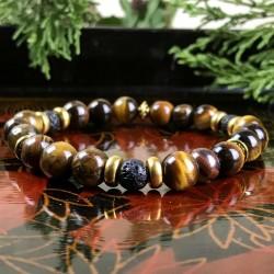 Bracelet Homme Femme Oeil du Tigre pierre de lave Naturelles - Perles du Tibet