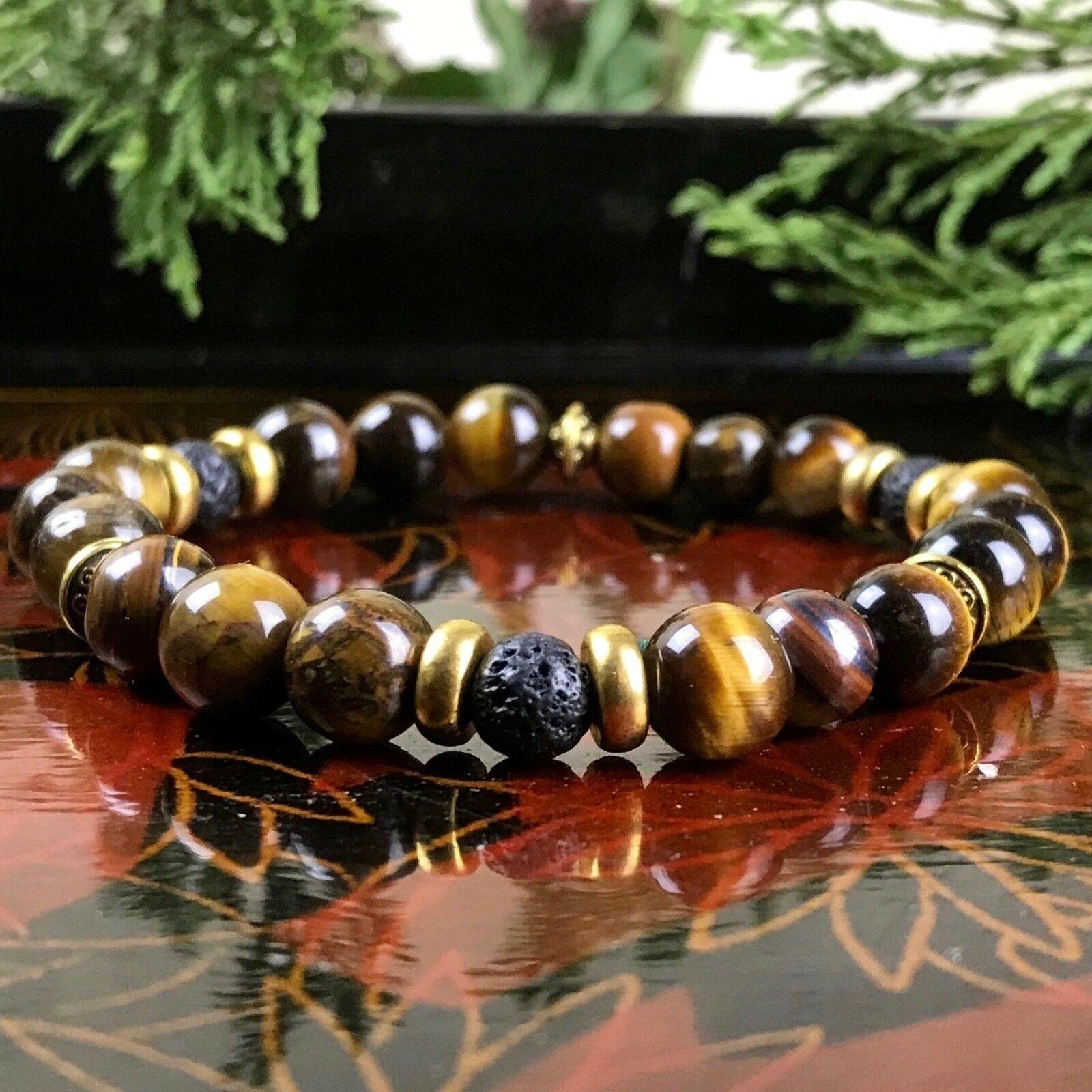 ordre achat spécial acheter pas cher Bracelet Homme Femme Oeil du Tigre pierre de lave Naturelles - Perles du  Tibet - DESIRS ESSENTIELS